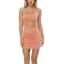 купить Women Sexy Slim Dress One-Shoulder Hollow Out Waist Mini Drss Club Dance Dress Clubwear Solid Plain Bodycon Cocktail Party Dress дешево