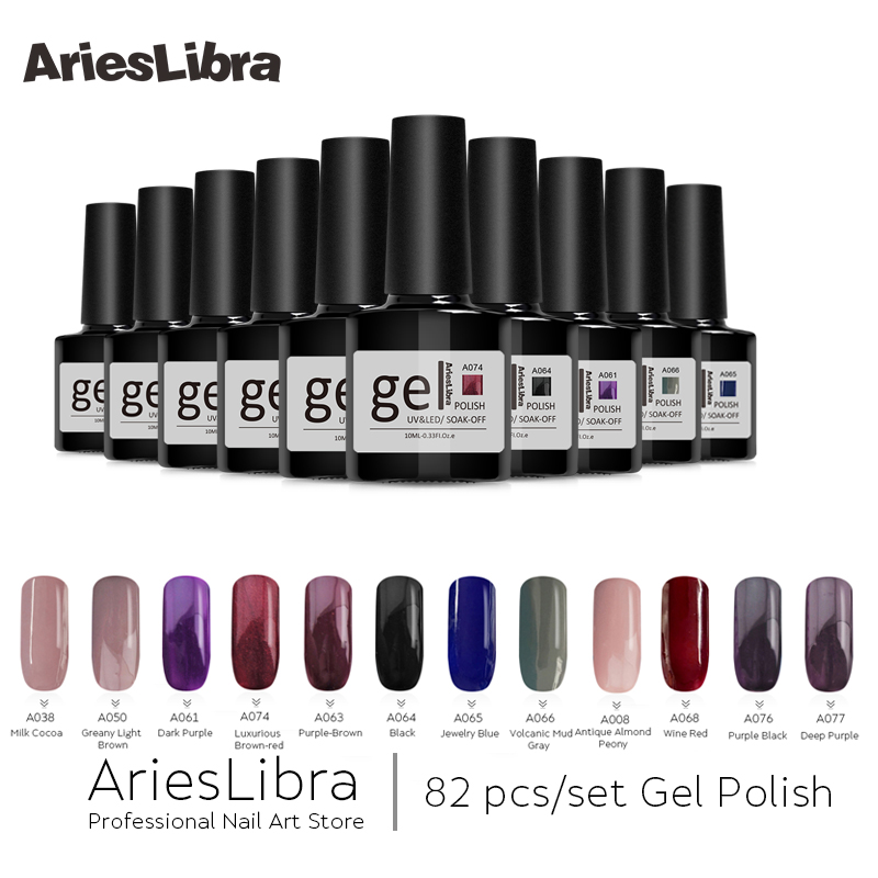 AriesLibra 82PCS Gel Polish Varnish Set Nail Art DIY Soak off LED UV Nail Gel Polish Long-lasting Manicure Colorful Lacquer