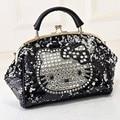 Luxo famosa marca de mulheres do sexo feminino sacos de lantejoulas de couro olá kitty bolsas de ombro tote bolsos mujer de marca saco de marque 40