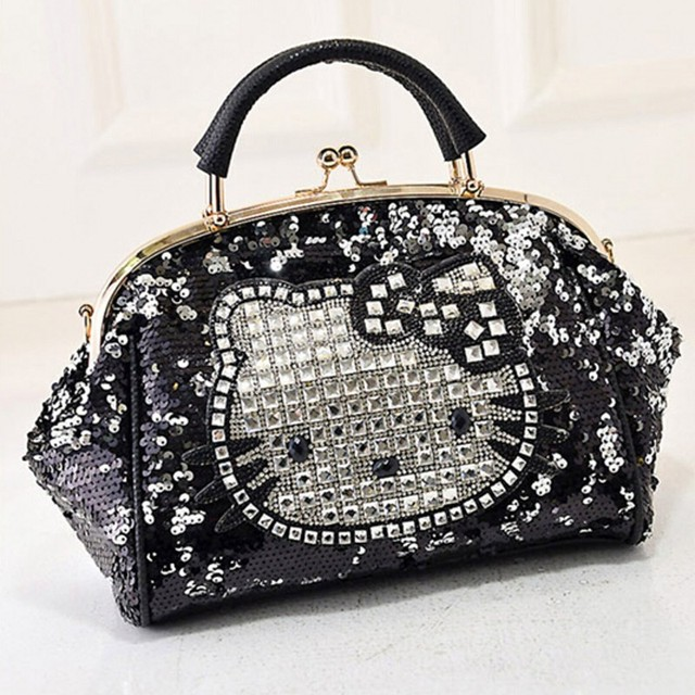 Luxury famous brand women female sequined bags leather hello kitty handbags shoulder tote bolsos mujer de marca sac de marque 40