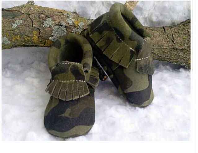 2016 camuflaje Nueva flecos De Gamuza De Cuero Genuino Baby Boy bebé Mocasines Zapatos suaves Primer Caminante zapatos Chaussure Bebe recién nacido
