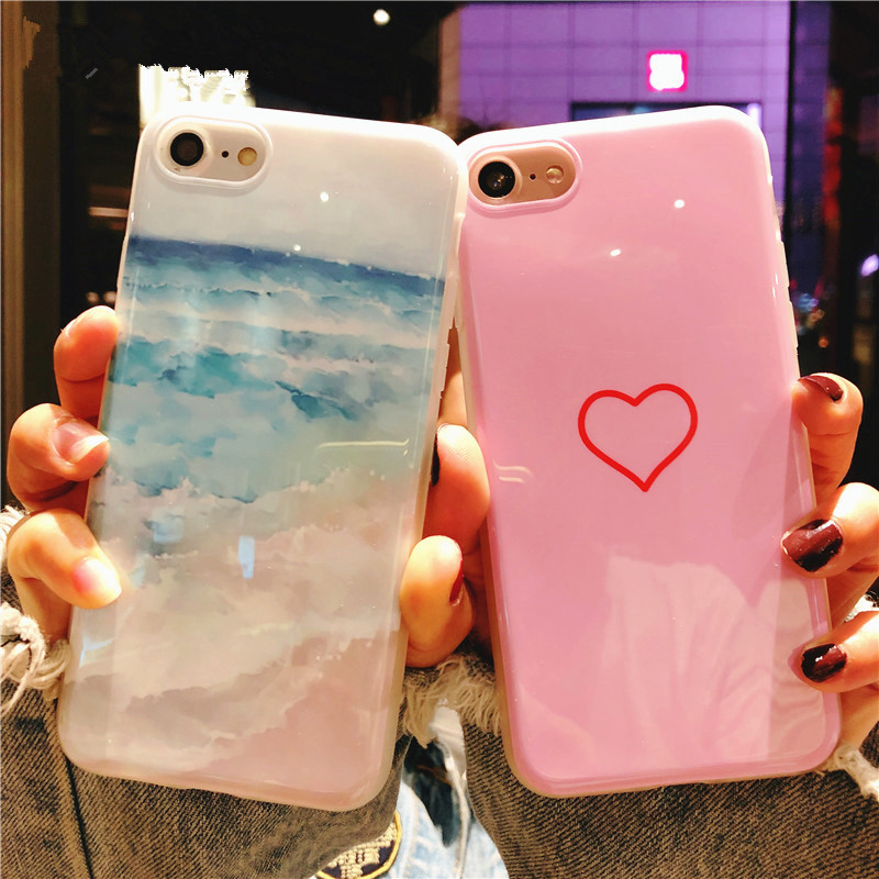 Case For iPhone 5 5s SE 6 6s 7 8 Plus X Phone Case Fashion Cute Cartoon Wave Love Heart Phone Case Soft IMD For iPhone 7 Cover