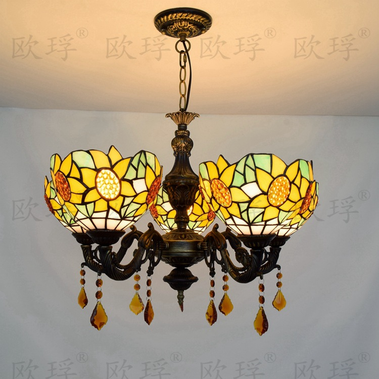 5 heads Living room dining room bedroom Crystal lamps Tiffany Stained glass Sun flower Restaurant Pendant Lights 110-240V 3 heads pendant lamps dining room glass pendant light living room lights bedroom pendant lamps iron lamp fg552