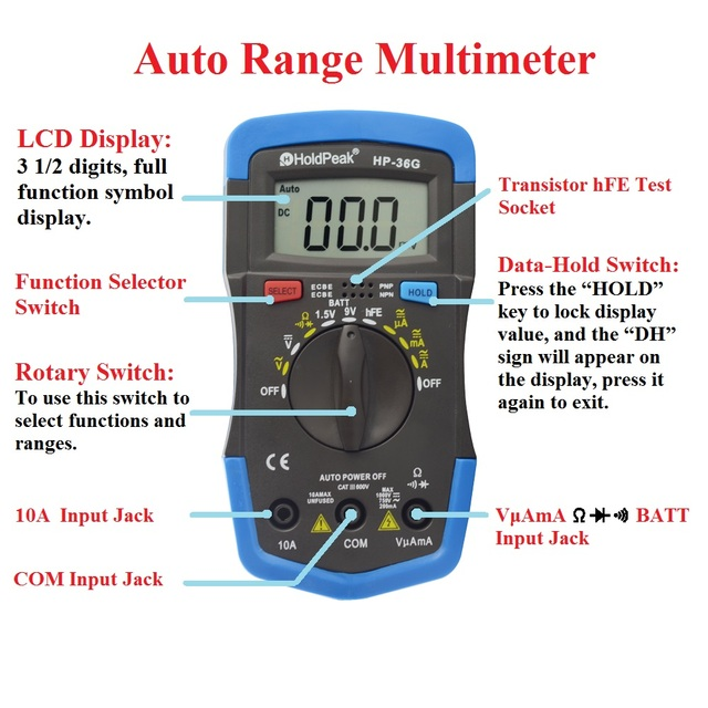 holdpeak hp 36g auto range digital multimeter ac dc 200ua 10a current meter mit batterietest. Black Bedroom Furniture Sets. Home Design Ideas