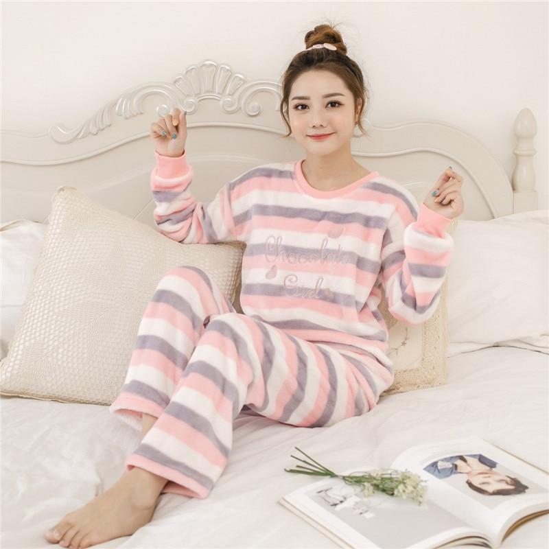 b40831ca15 Dropwow Women pajamas set Women Pyjamas Thick Flannel Cute Sheep ...