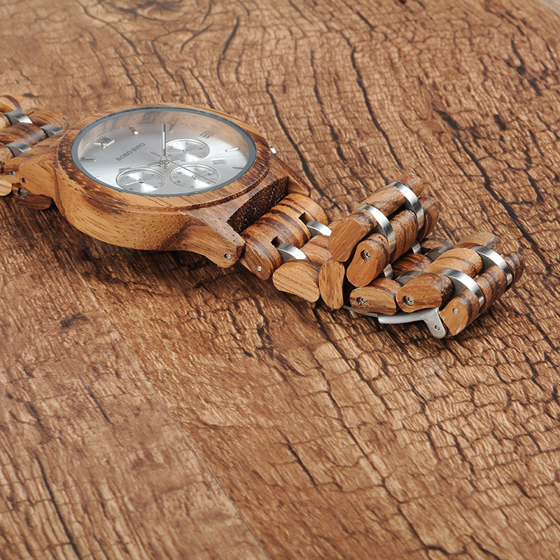 Relojes de Madera con Banda Metálica 11