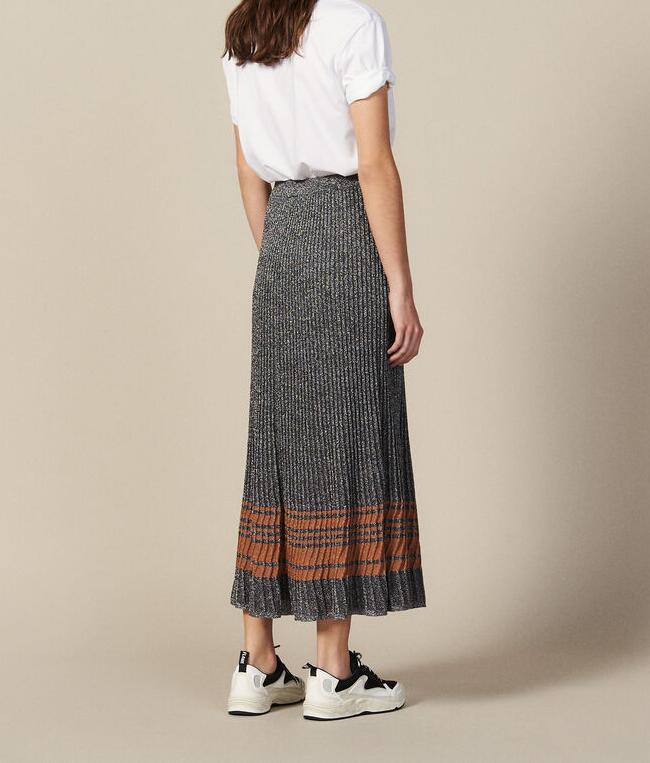 Gris mujer LUREX tejido Falda MIDI cintura elástica rayas contraste dobladillo moda tejido faldas largas 2019 nuevo-in Faldas from Ropa de mujer    1