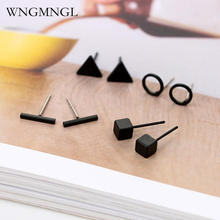 4 Pairs/Set 2018 New Classic Square triangle Round Gold Sliver Black Stud Earring Set for Women Charm Statement Fashion Jewelry