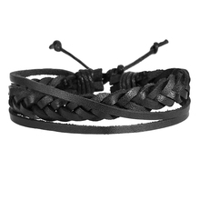IF YOU Fashion Multiple Layers Punk Leather Bracelets Men Alloy Chain Charms Beads Leather Bracelet For Men Handmade Jewelry