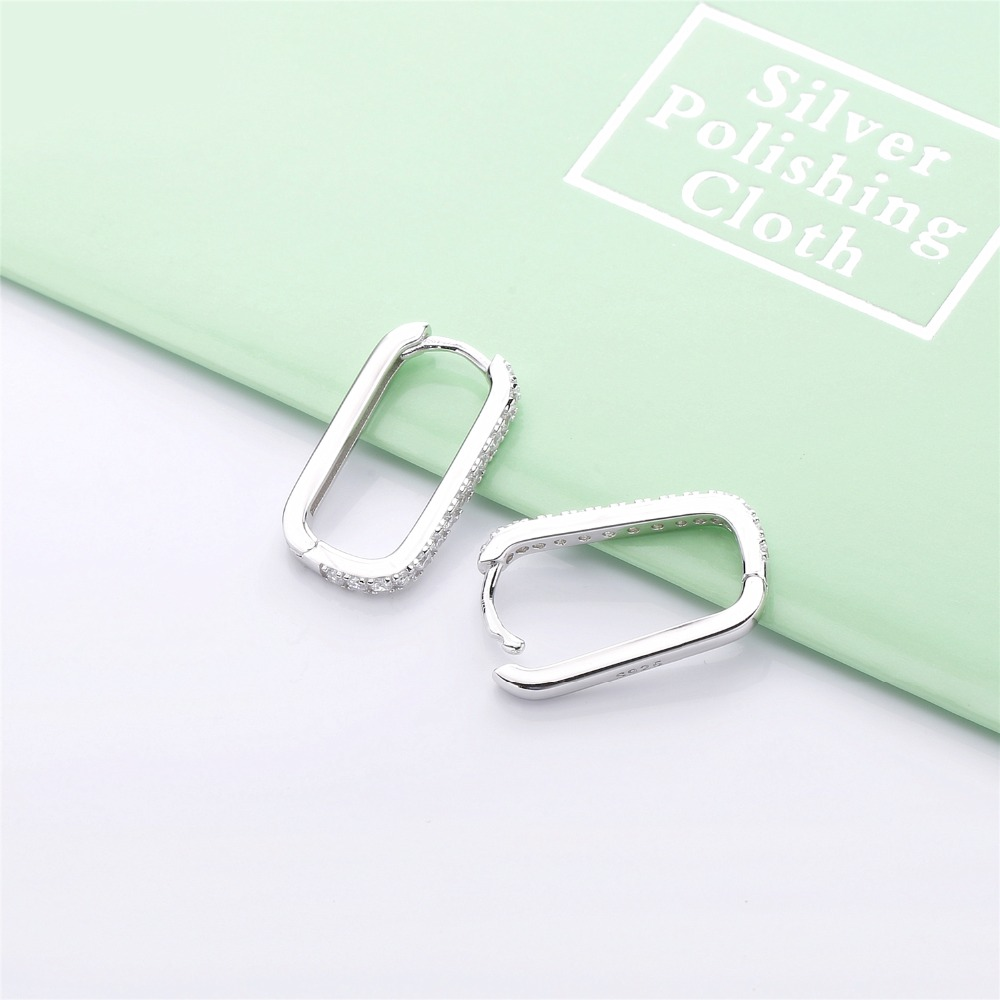 Slovecabin Oval Huggie Hoop Earrings 925 Sterling Silver Ear Cuff Earring with Clear Stones Pave Earring Jewelry For Women in Hoop Earrings from Jewelry Accessories