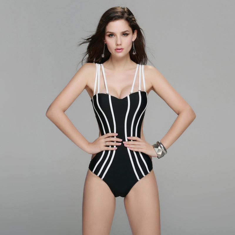 5a16085c73 New 2016 Sexy Strappy Vertical Striped One Piece Swimsuit Women Push Up  Halter Strapless Swimwear Bandage Beachwear Bathing Suit-in One-Piece Suits  from ...