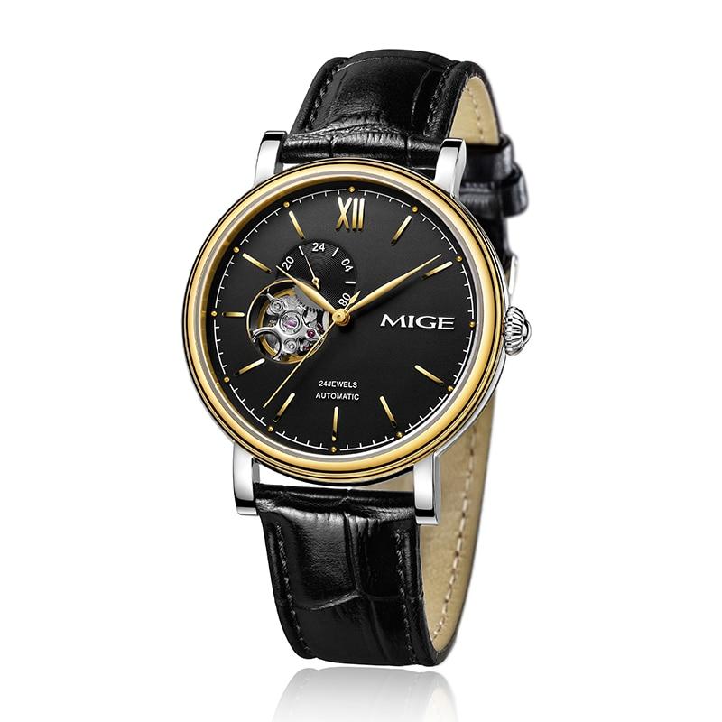 Hot Sale Top Brand Skeleton Tourbillon Mechanical font b Watches b font Relogio Black White Leather