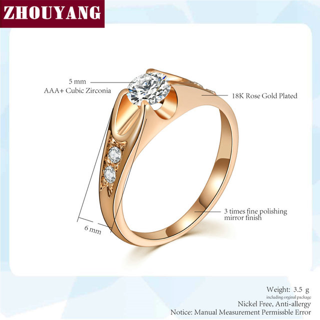 ZHOUYANG Wedding Ring For Women Classic Cubic Zirconia Rose Gold Color Fashion Jewelry Lover Rings Austrian Crystal ZYR249 1