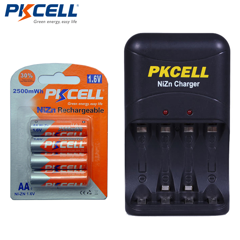 4pcs PKCELL <font><b>1.6V</b></font> <font><b>AA</b></font> NiZn Rechargeable <font><b>Battery</b></font> 2500mWh + Nizn <font><b>AA</b></font>/AAA <font><b>Battery</b></font> Charger EU Plug image