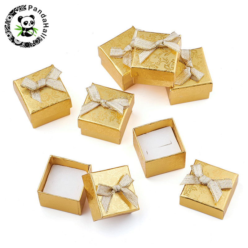 24pcs Square Cardboard Earring Ring Boxes For Gift Packages Jewelry Display With Bowknot Outside And Sponge Inside 43x43x32