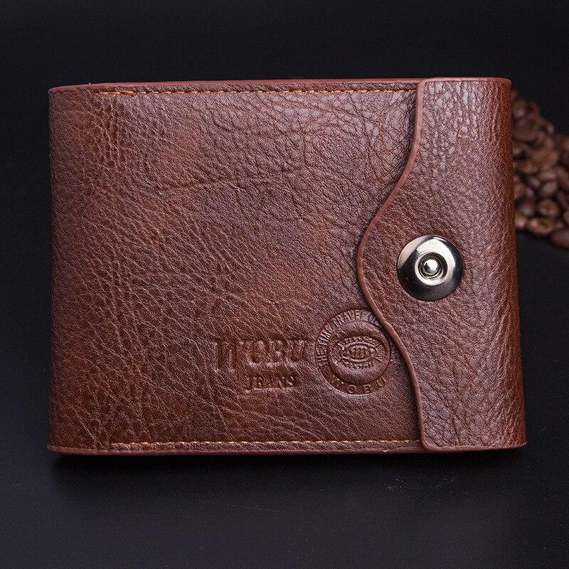 Лидер продаж из высококачественной искусственной кожи чёрный; коричневый Цвет 3 складки магнитной застежкой Монета Изменить карман кредит...