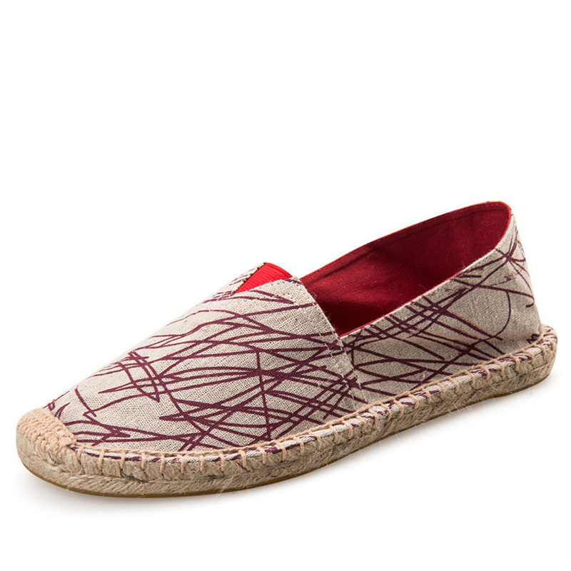 Womens canvas casual linen shoes cartoon girls fisherman ladies flat sneakers