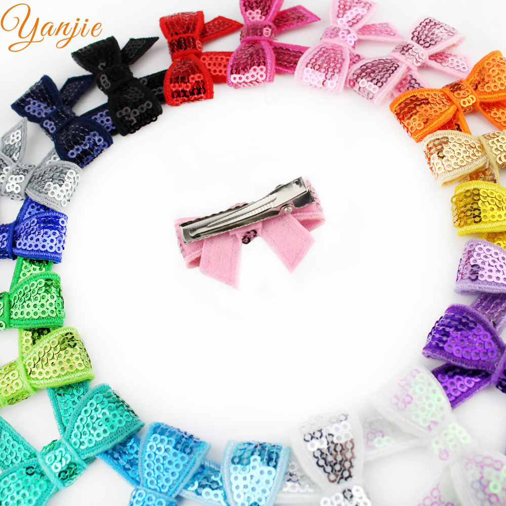 "Image 3 - Free DHL 600pcs/lot Popular Summer Knot Applique 1.8"" Sequins Hair Bow Barrette For Girl Hairpins Hair Clips Hair Accessoriesbow barrettebarrettes for girlssequin hair bows -"