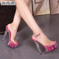 2016 Summer Sexy Transparent 15cm Thin High Heels Platform With Roses Pumps Buckle Slipper Peep Toe