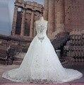 Real Fotos Vestido De Noiva Vestidos de Casamento Vestidos de Noiva Cristais de Luxo Catedral Vestido de Noiva O Véu para o Casamento 2016