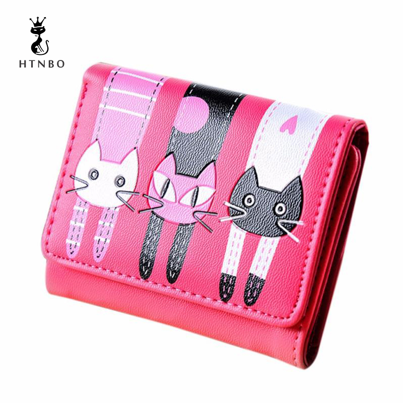 Woman Wallets Cute Cat Pattern Wallet Small Hasp Coin Purses Fashion Short Girl Lovely Wallet Credit Card Holders women Carteira lovely new style wallet women short girls purses card holders wallet long solid with inlaid pearls pattern wallet designer500862