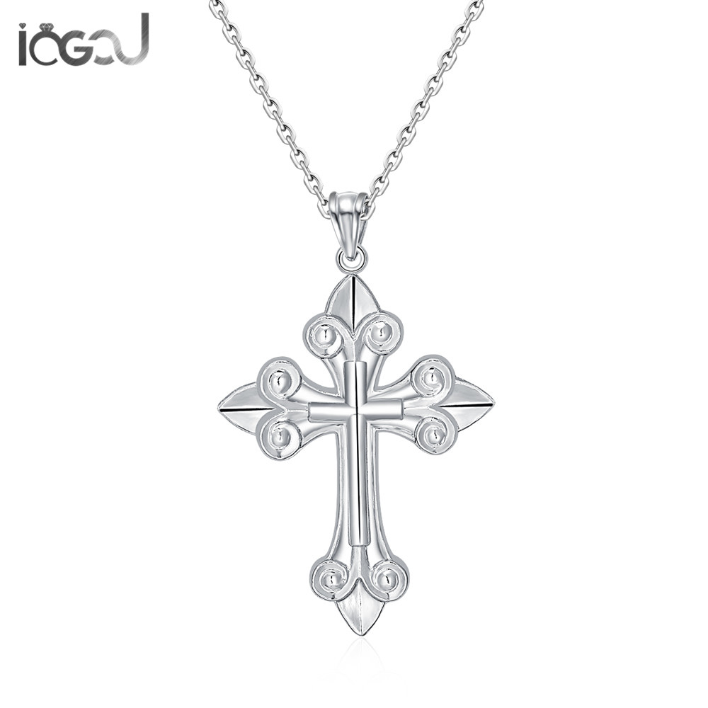 IOGOU Trendy 925 Sterling Silver Cross Pendants Men Women Daily Life Silver Charm Pendant Anniversary Hip Hop Party Jewelry GiftIOGOU Trendy 925 Sterling Silver Cross Pendants Men Women Daily Life Silver Charm Pendant Anniversary Hip Hop Party Jewelry Gift