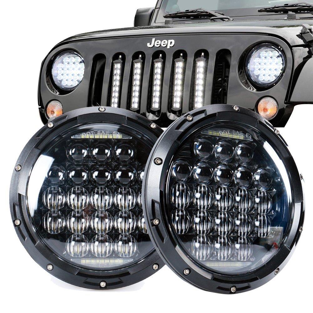 1 Pair 7 Inch Headlight 70W Round 35W H4 Headlights 5D Lens Combo for Lada Niva Toyota Volkswagen Beetle Fiat Spider 1 pair 7 inch rectangular led headlight