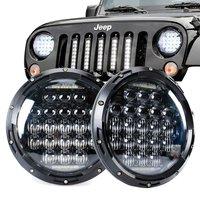 1 Pair 7 Inch Headlight 70W Round 35W H4 Headlights 5D Lens Combo For Lada Niva