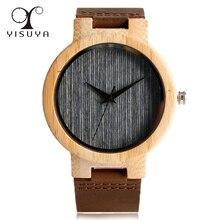YISUYA Unique Strip Dial Wood Watch Leather Strap Men's Quartz Movement Wrist Watch Vintage Simple Style Clock Gifts