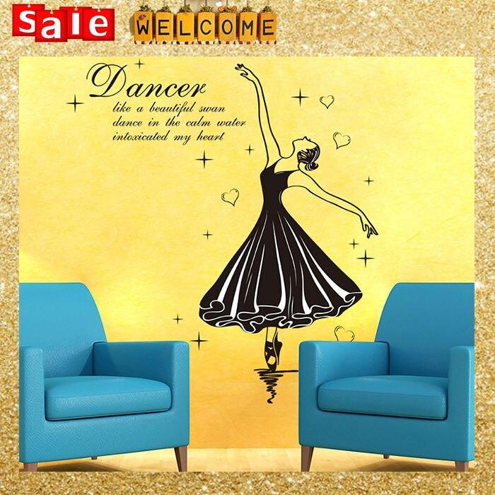 70x50cm Big Large Heart Dance Girl Wall Sticker Room Art Decal ...