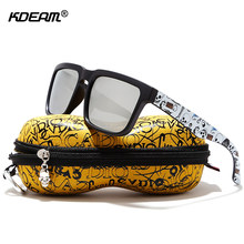KDEAM Eye-catching Function Polarized Sunglasses For Men Matte Black Frame Fit. Painting Temples Play-Cool Sun Glasses With Case(China)