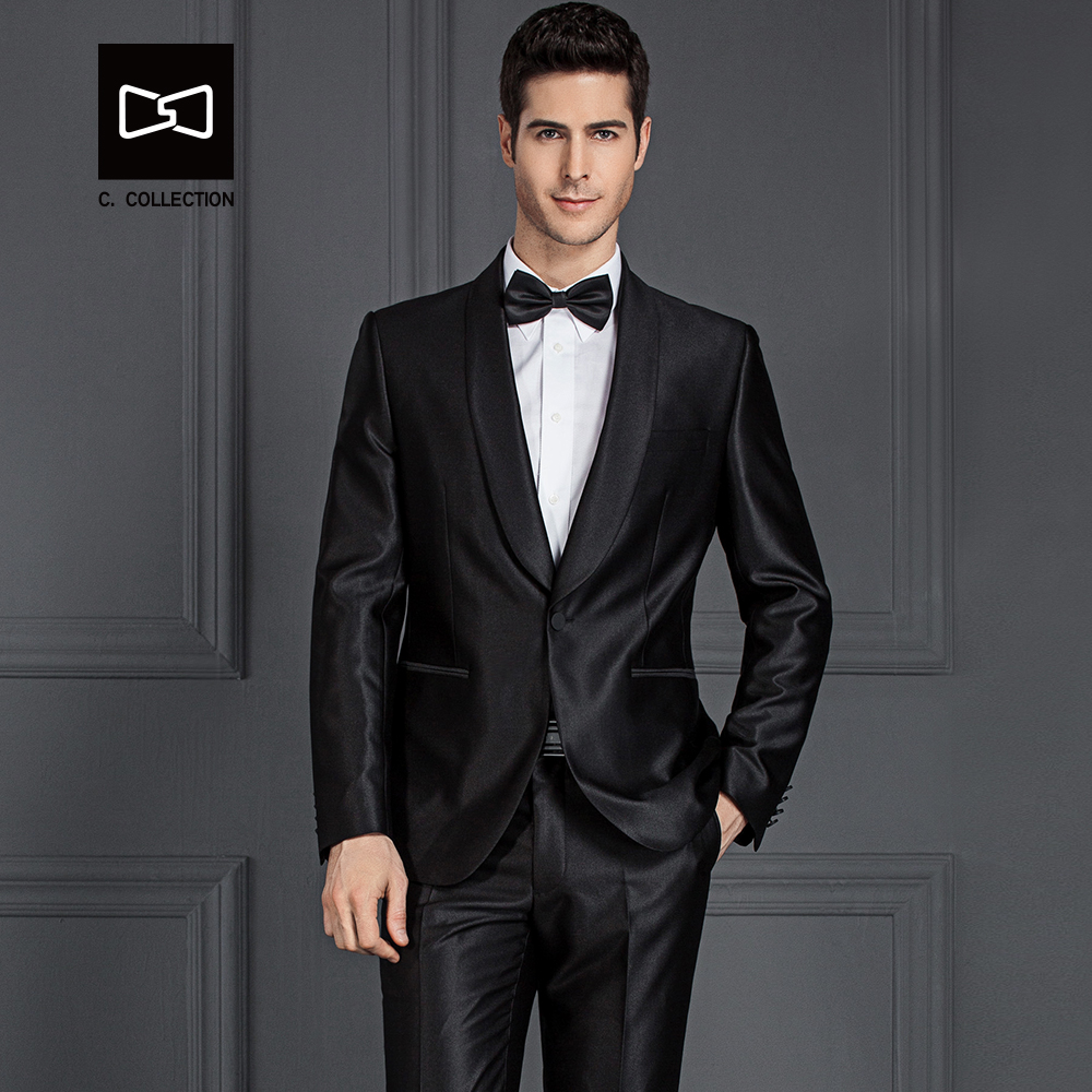 Tailor-made Men Black Suit Shawel Collar Slim fit Wedding Suit Men Tuxedo 2 Pieces(Jacke ...
