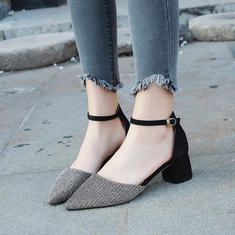 Musim Panas Gaya wanita Pergelangan Pergelangan Kaki persegi heels - Sepatu Wanita - Foto 3