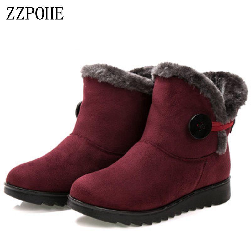 ZZPOHE women winter shoes women's fashion flat comfortable ankle boots elderly casual Warm Soft Snow Boots plus size 35-41