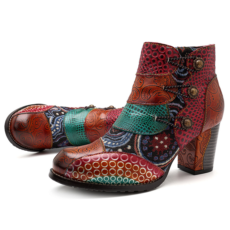 Socofy Vintage Splicing Printed Ankle Boots For Women Shoes Woman Genuine Leather Retro Block High Heels Women Boots 2019 New 3