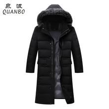 2016 New Arrivals Mens Black X-Long Down Coat Winter Thick Keep Warm Windproof Fox Fur Collar Men's jacket Brand Parka 3XL