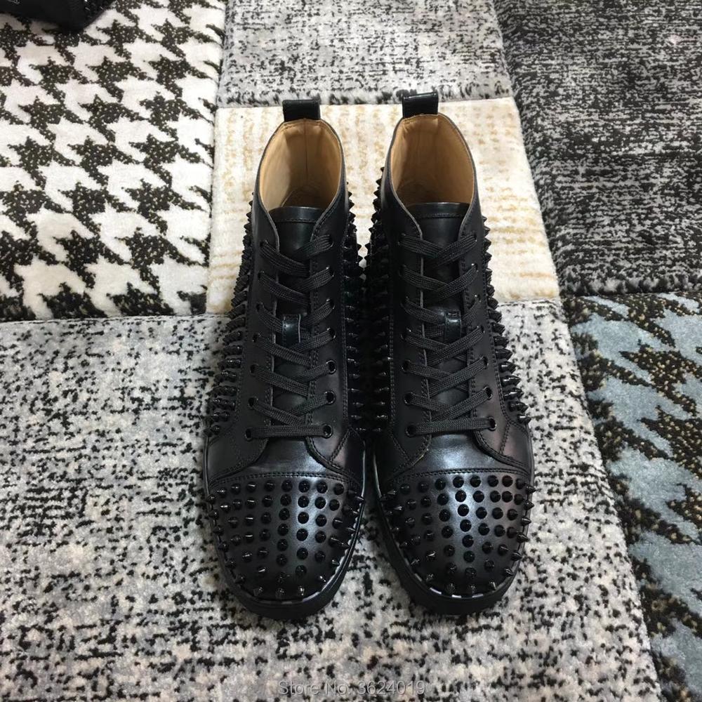 2018 Printemps Haute Andgz Mocassins Noir High Pour Sneakers Rivet Chaussures Cuir Up Qualité Bas Hommes Cut En Rouge Cl Dentelle iTPulZwkXO