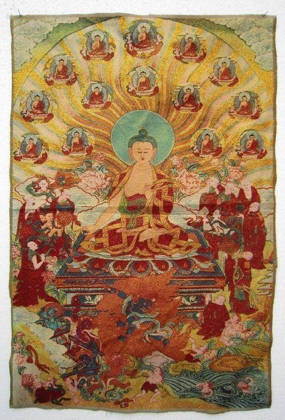 """35.4 """"티베트 실크 단조 Maitreya Buddha Thangka"""