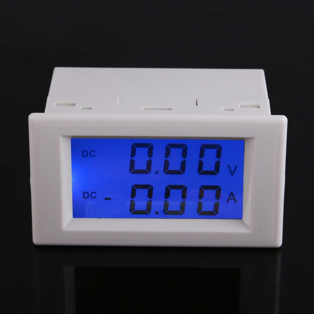 Digital DC 0-199.9V 10A Ammeter Voltmeter LCD Volt Amp Panel Meter White NG4S 2 2 lcd red led panel 0 10a digital meter ammeter black