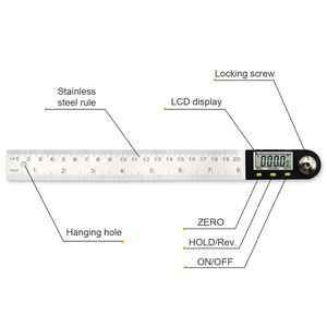 Image 2 - 200mm /300 mm Stainless Steel Digital Meter Angle Inclinometer Angle Digital Ruler Electron Goniometer Protractor Angle finder
