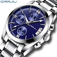 Novos Relógios Homens Marca De Luxo Cronógrafo CRJU Masculino Sports Relógios À Prova D' Água Relógio dos homens de Aço Completo relógio de Quartzo Relogio masculino