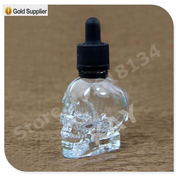 30 ml forma del cranio di vetro contagocce per e-succo di frutta, 30 ml testa del cranio di vetro bottiglia contagocce eliquid, 30 ml bottiglia di vetro cranio