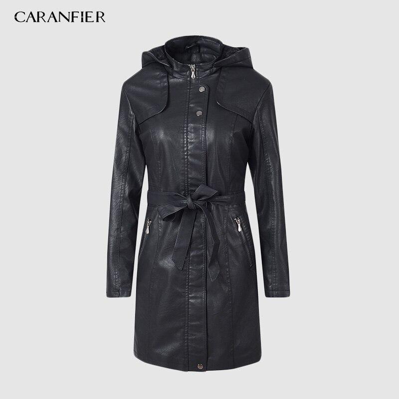 CARANFIER 2019 Winter Women PU   Leather   Jacket Waterproof Belt Trench Zipper Thick Velvet Fur Lined   Leather   Jackets Female