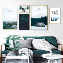 Canvas Print Painting Abstract Landscape Cloud Snow Mountain Jungle Norwegian Forest Nordic Style Home Bedroom Art Deco Images