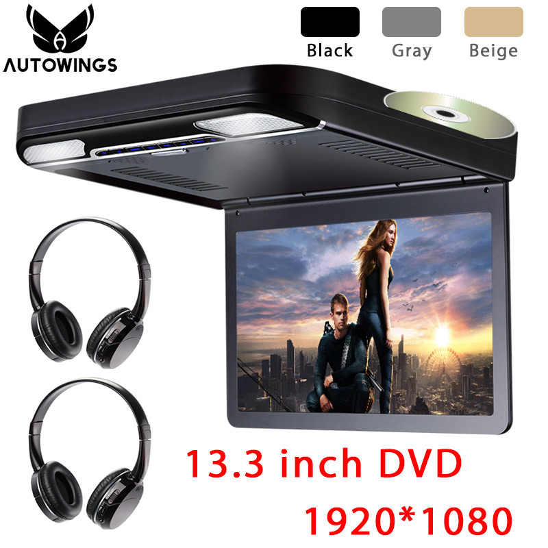 """10.1/"""" Roof Mount Monitor DVD//USB//HDMI//Infrared//3 Colors//Full-HD 1080p Headset"""