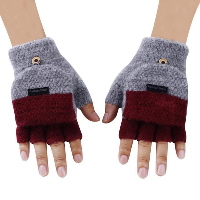 Knitted Fingerless Gloves Autumn Winter Warm 3