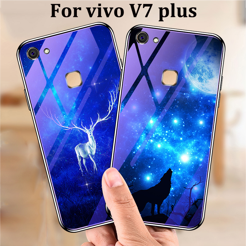 For <font><b>vivo</b></font> V7 plus <font><b>case</b></font> cover blue Tempered Glass back cover For <font><b>vivo</b></font> <font><b>V7plus</b></font> shell phone <font><b>cases</b></font> For <font><b>vivo</b></font> V 7 plus fundas capas image