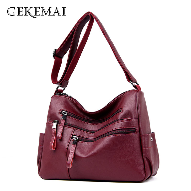 Designer Double Zipper Women Bags Luxury Crossbody Bags For Women Ladies Handbags Multi-pocket Leather Shoulder Messenger Bag