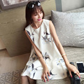 Maternity summer new advanced printing A word big sleeveless chiffon pregnant women dresses maternity clothes