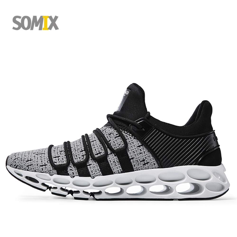 Somix Outdoor Sports Shoes 2018 New Design Soles Running Shoes for Men Breathable Cushioning Men Sneakers Athletic Shoes Male summer style somix ultralight damping running shoes for men free run sneakers 2017 slip on breathable blade soles sport shoes